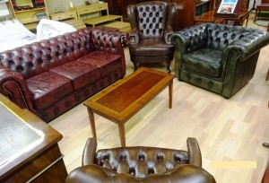 Chesterfield 3 Seater 2 Seater & Wing Chair